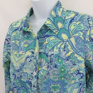 Tommy Hilfiger Blouse Turquoise Tropical Floral